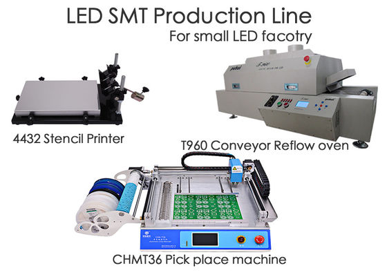 LED SMT Production Line CHMT36 Chip Mounter , Stencil Printer , Reflow Oven T960 , For Small Factory