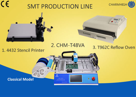 Desktop SMT Production Line Pick Place , Stencil Printing Machine T962C Reflow Oven PCB Assembly Line