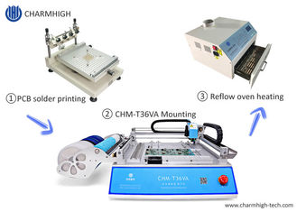 Small SMT Line Stencil Printer / CHMT36VA Pick and Place Machine / Reflow Oven 420